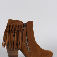 Breckelle Suede Fringe Cowgirl Chunky Heeled Ankle Boots