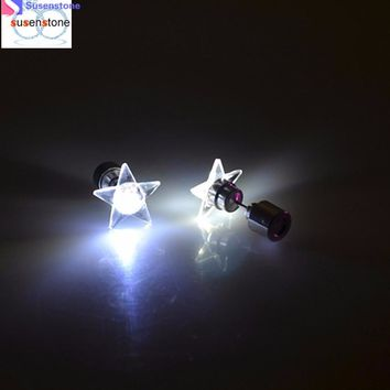 SUSENSTONE LED five-pointed star light earrings Fashion Dance Party Accessories Light Up LED Bling Ear Studs Earring #xtj