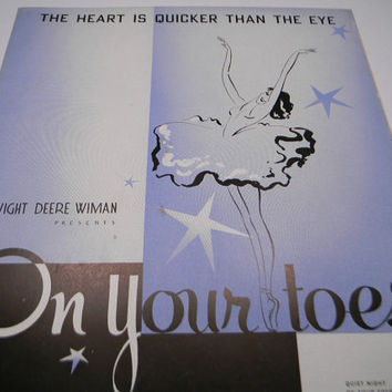 1936 On Your Toes Sheet Music, Blue Dancer Cover, Lorenz Hart , Richard Rodgers