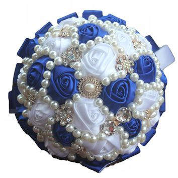 Royal Blue Satin Pearl Crystal Bouquets Handmade High Quality Bridal  Bouquet