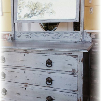 Chippy dresser with mirror, Distressed dresser, Antique dresser, shabby chic dresser, rustic dresser,  grey dresser, gray dresser and mirror
