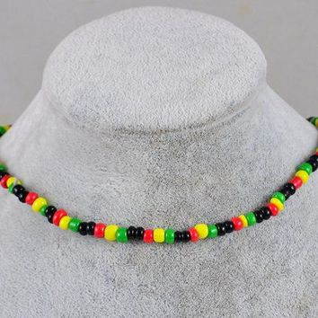 10x Red Yellow Green Rasta Reggae Punk Hiphop Elastic Stretch Necklace Glass Seed Beads Black Africa Fashion Jewelry