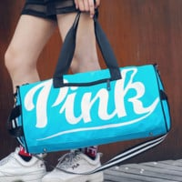 Victoria Pink New travel bag with large capacity fitness package yoga package print letters Blue