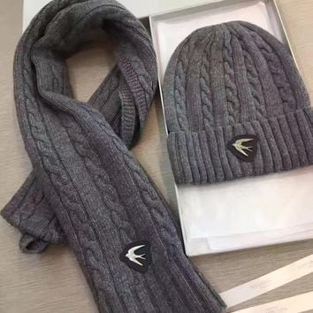 Alexander McQueen Fashion Beanies Knit Winter Hat Cap Scarf Scarves Set Two-Piece-3