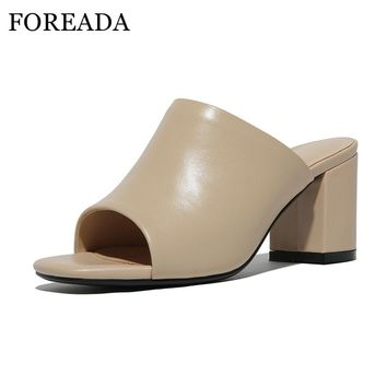 FOREADA Women Slippers Genuine Leather Sandals Shoes Women Open Toe High Heel Sandals Ladies Slides Casual Mules Shoes Apricot