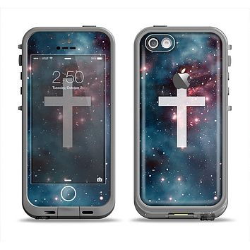 The Vector White Cross v2 over Bright Pink Nebula Space Apple iPhone 5c LifeProof Fre Case Skin Set