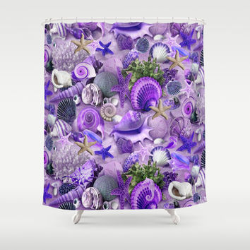 Passion Starfish and Seashells Shower Curtain by DMiller