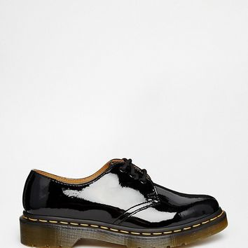 Dr Martens 1461 classic black patent flat shoes at asos.com