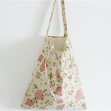 2017 Vintage Floral Printed Canvas Tote Female Casual Beach Bags Women Large Single Shoulder Bags Shopping Bag Girls Handbags