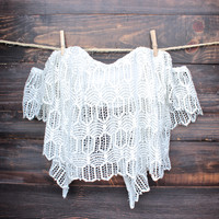 off the shoulder bohemian princess crochet top - white