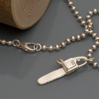 Silver Chainsaw 'killer charm' Necklace by williamwhite on Etsy