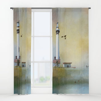 Lighthouse Bay II Window Curtains by Theresa Campbell D'August Art