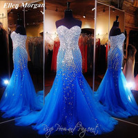 Royal Blue Corset Mermaid Prom Dresses 2017 Real Picture Tulle Sexy Long Runway Sparkling Bling Formal Evening Gowns For Women