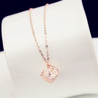 Rose and Rhinestone Ball Necklace - LilyFair Jewelry