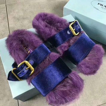 Gotopfashion PRADA Rabbit Hair Casual Sandal Slipper Shoes Flip Purple I-AGG-CZDL