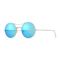 Ros Round Mirror Sunglasses, Silver/Blue - KYME