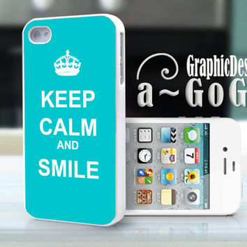 iPhone 4s case  Keep Calm and Smile Turquoise by aGoGoDesign