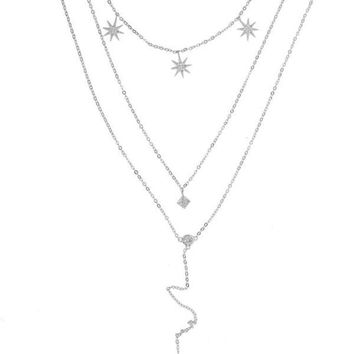 Triple Layer Starlet Necklace - Silver
