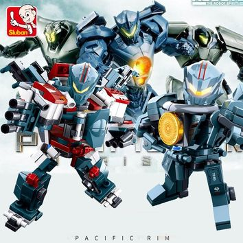 Sluban Pacific Rim Robot 6pcs Gipsy Avenger Saber Athena Bracers Phoenix Guardian Building Blocks Compatible Legoe Bricks Toys