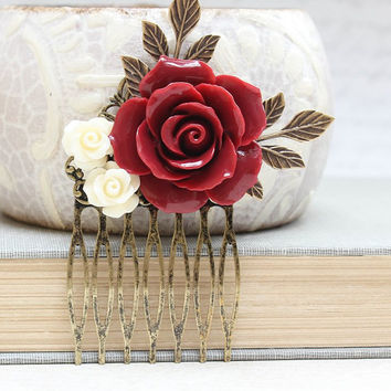 Red Rose Comb Floral Collage Hair Accessories Cream Rose Dark Red Wedding Bridal Stocking Stuffer Victorian Christmas Gift For Her