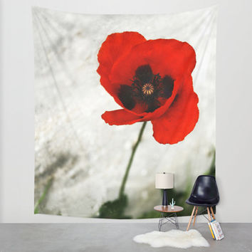 Poppy tapestry, flower tapestry, floral tapestry, poppy wall art, red tapestry, flower wall hanging, large wall hanging, nature decor