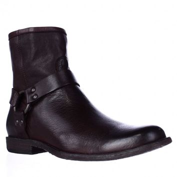 FRYE Phillip Harness Ankle Boots, Dark Brown, 10 US