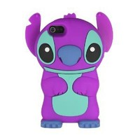 niceEshop(TM) Purple Cute 3D Stitch with Movable Ears Silicone Rubber Soft Case Cover Fit for the New iPhone5 5G +Free Screen Protector