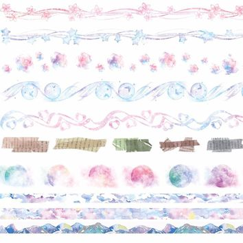 8Designs Sky/Rainbow/Flowers/Lace/Letter/Cloud Pattern Japanese Washi Decorative Adhesive DIY Masking Paper Tape Sticker Label