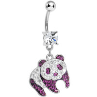 Clear Gem Pink Precious Panda Bear Dangle Belly Ring | Body Candy Body Jewelry