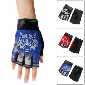 Sport Gloves for Kids Semi-finger Wolf Print Glove Children Mittens Anti-slip Boys Girl Fingerless Gloves for  Kid Women,Men