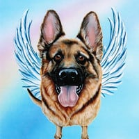 German Shepherd Angel - German Shepherd Art Print - Dog Angels - Guardian Angels - Pet Memorial - Rainbow Bridge - Weeze Mace - 8x10
