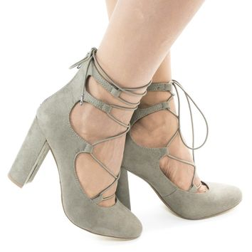 Makowa Taupe By Delicious, Round Toe Ghillie Lace Up Block Heeled Sandals