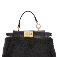 Fendi - Peek-A-Boo Micro Leather and Shearling Tote