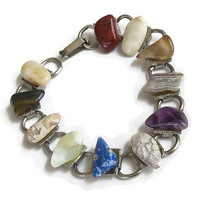 Vintage Silver Tone Stones Link Bracelet with Carnelian, Agate, Amethyst, Tiger Eye & More Stones