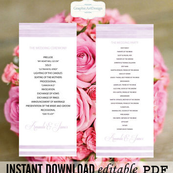 WaterColor Wedding Program Template - Purple WaterColor Printable Wedding Program 4x9.25 Editable PDF Template Adobe Reader PDF Format