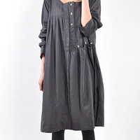 Linen pleated babydoll long sleeved dress