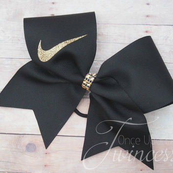 Nike Cheer Bow, Black Nike Cheer Bow, Gold Nike Swoosh, Cheer bows for teams, gifts for cheerleaders, practice bows