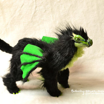 Green and Black Dragon Poseable Art Doll