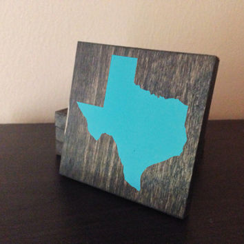 Customizable Texas Wood Coasters, Set of 4, Stained and Hand Painted, Personalize, Home decor