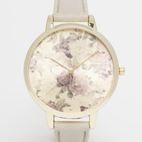 New Look Pretty Floral Dial Grey Strap Watch