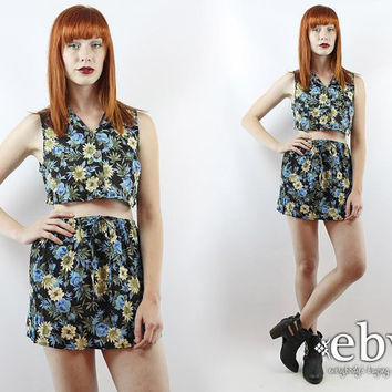 Vintage 90s Black Floral Crop Top + Skirt Outfit S M Matching Set Two Piece Set Two Piece Outfit Skater Skirt Cropped Top High Waisted Skirt