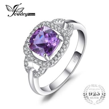 JewelryPalace Fashion 2.5ct Square Created Alexandrite Sapphire 925 Sterling Silver Wedding Rings For Women Vintage Fine Jewelry