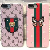 GUCCI butterfly tiger iphone6plus mobile phone shell pink girl heart 7plus leather hard cover.