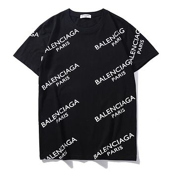 Balenciaga summer new full printed logo trend round neck half sleeve shirt black