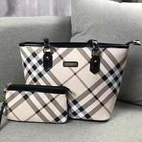 Burberry Women Fashion Leather Handbag Tote Clutch Bag Satchel Set Two Piece