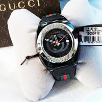 GUCCI Watch Women Men Quartz Stainless Steel Rubber Leisure