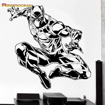 ROWNOCEAN The Avengers Black Panther Wall Stickers Home Decor Living Room Vinyl Art Decals Stickers On The Wall Kids Bedroom K-6