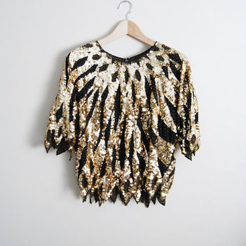 8b7d94b465527f Golden Swan - Vintage 80s Gold Black Sequin Glitter Top