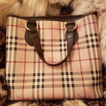 Burberry Leather Pvc Tote Bag . Beige .dark Brown Women's