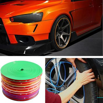 8 Meter/Roll Car Wheel Hub Tire Sticker Car Decorative Styling Strip Wheel/Rim/Tire Protection Care Covers Auto Accessories